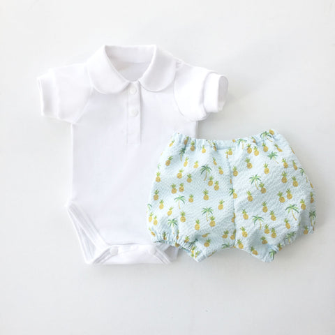 Pineapple Print Baby Boy Bloomers Set