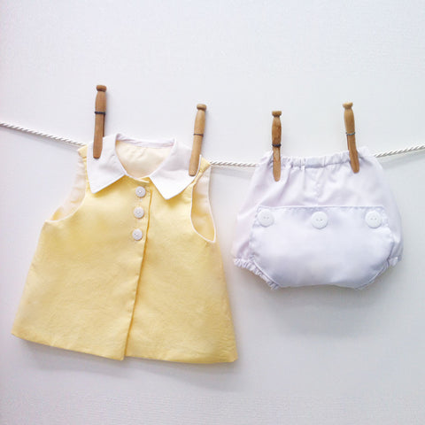 Two Piece Yellow and White Diaper Shirt Set