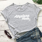 Women Wanderlust T-shirt Airplane Mode Graphic