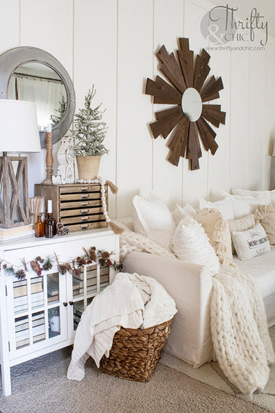 Neutral Farmhouse Christmas Decor With A Vintage Twist (Front Living Room Tour 2020)