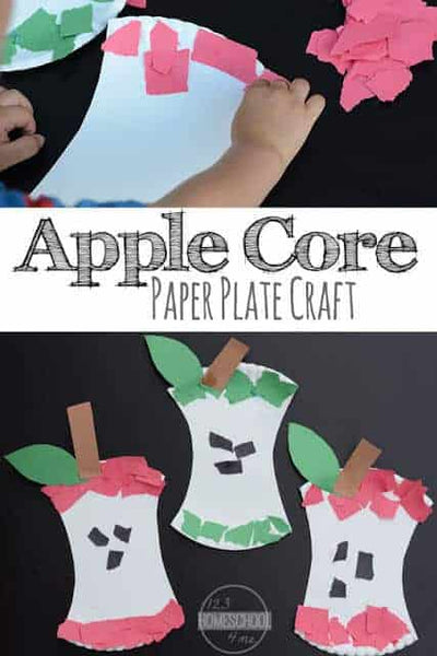 EASY Paper Plate Apple Core Craft