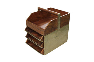 Anthropoligie Wood Gilded 3-Drawer Desk Organizer