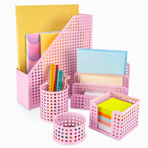 Pink Desk Organizer Set of 5