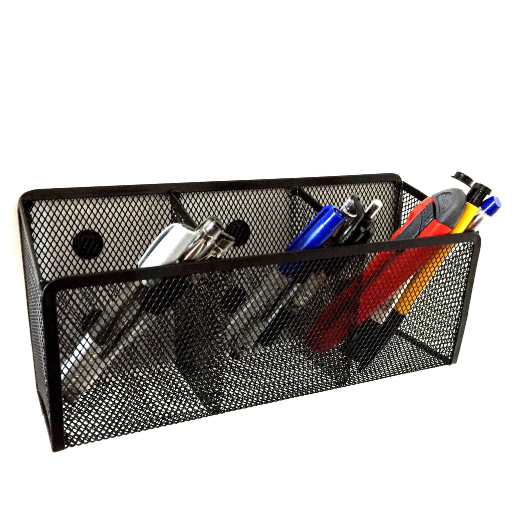 Magnetic Pen Holder - - Magnetic Market Holder - Magnetic Pen Holder -  Mesh Desk Organizer - Storage Basket for Office Pens, Whiteboard Marker, School Locker and Cubicle Accessories - 3 Compartments with 9 Strong Magnets