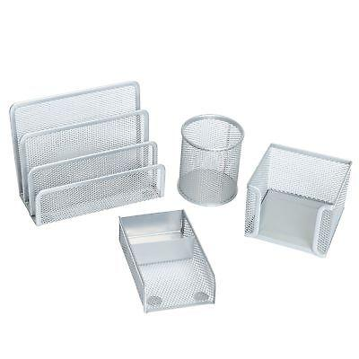 4 Piece Wire Mesh Desk Organizer Set – Silver Office Desk Organizers for Wome...