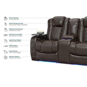 Try seatcraft anthem home theater seating leather power recline loveseat with center storage console powered headrests storage and cupholders brown
