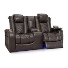 Load image into Gallery viewer, Storage seatcraft anthem home theater seating leather power recline loveseat with center storage console powered headrests storage and cupholders brown