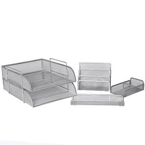 5 Piece Wire Mesh Desk Organizer Set – Silver Office Desk Organizers for Wome...