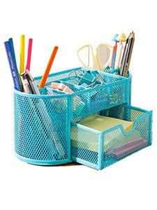 Space Saving Desk Tidy Multi-functional Metal Wire Mesh 9 Compartment Office / School Supply Desktop Organizer Caddy W/ Large Drawer (Blue)