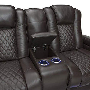 Top seatcraft anthem home theater seating leather power recline loveseat with center storage console powered headrests storage and cupholders brown