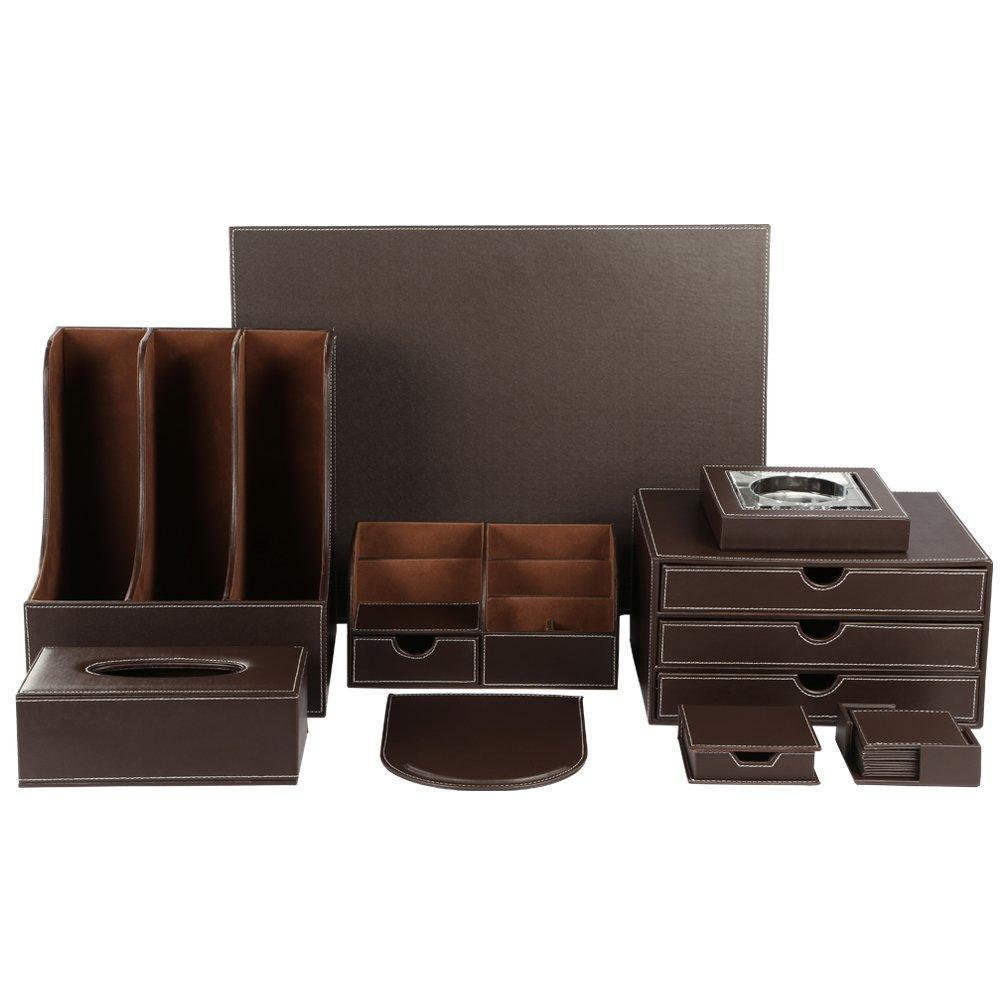 KINGFOM Desk Organizer Set 9 PCS Office Supplies Set File Holder Cabinet, Desk Organizer Drawer,Tissue Box Cover,Organizer Box,Mouse Pad,Desk Pad, Notepaper Holder, Ashtray and Coasters Set(T04Brown)