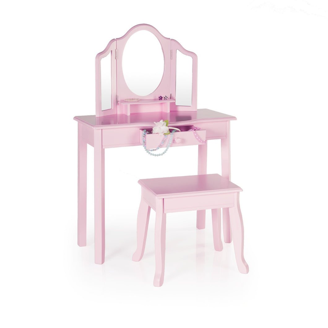 Save on guidecraft vanity and stool pink kids wooden table and chair set with 3 mirrors and make up drawer storage for toddlers childrens furniture
