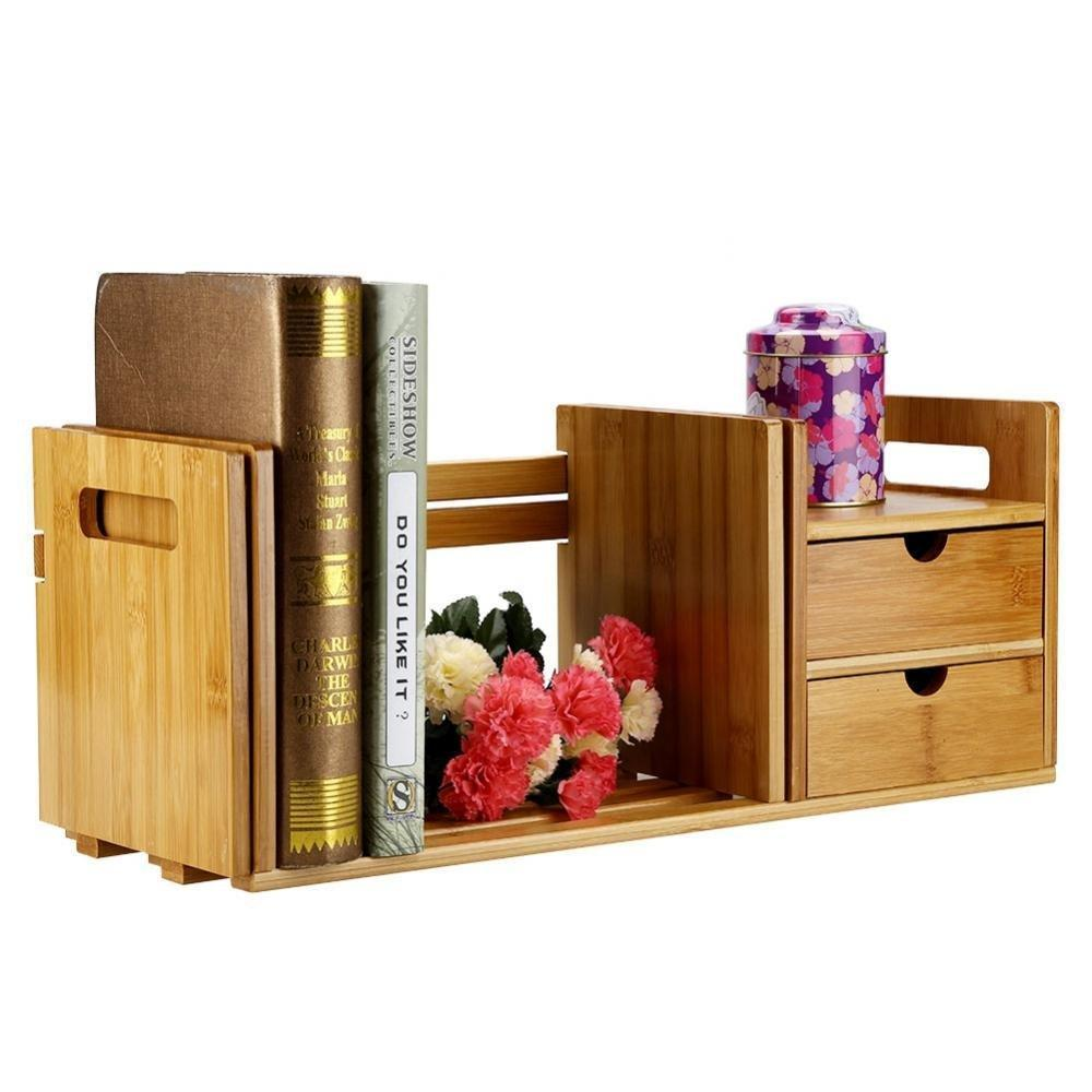 Cocoarm Bamboo Wood Desk Organizer Expendable Tabletop Bookshelf Office Storage Adjustable Table Accessory Book Shelf Media Rack with 2 Drawers CD Holder Display for Home Dorm Kitchen Plants