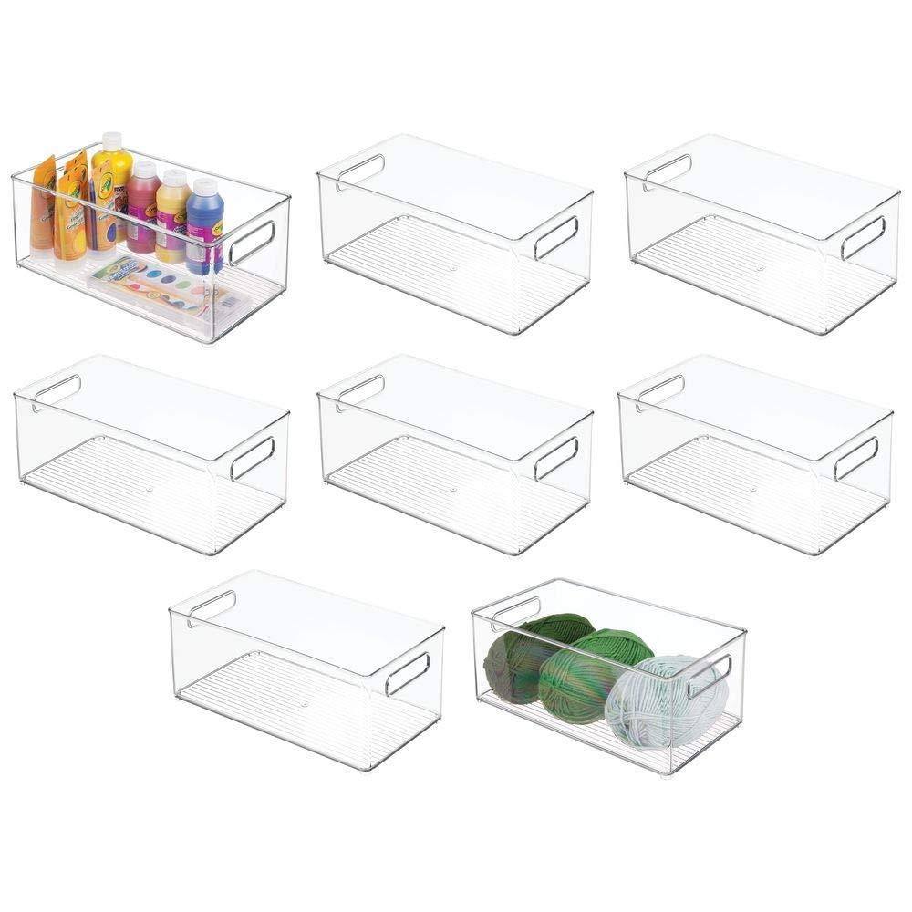 New mdesign large plastic storage organizer bin holds crafting sewing art supplies for home classroom studio cabinet or closet great for kids craft rooms 14 5 long 8 pack clear