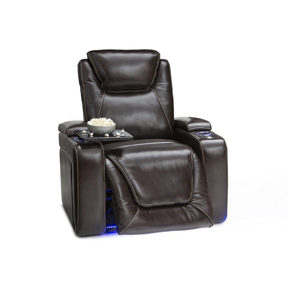 Select nice seatcraft equinox home theater seating leather power recliner adjustable power headrest adjustable powered lumbar support usb charging storage soundshaker lighted cup holders brown