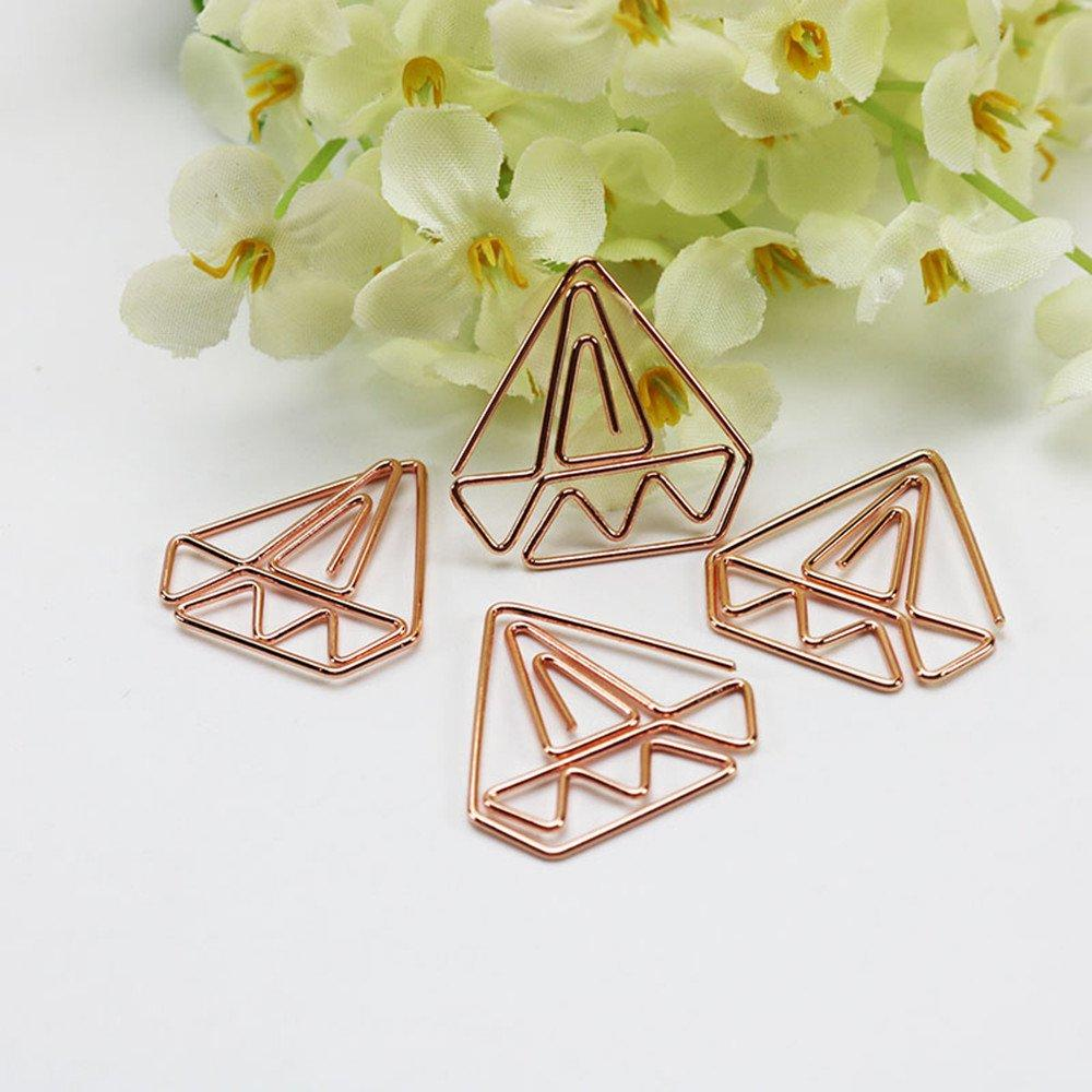 30pcs Diamond Rose Gold Paper Clips in Reusable Acrylic Paper Clip Holder Clear Bookmarks Clips for Book