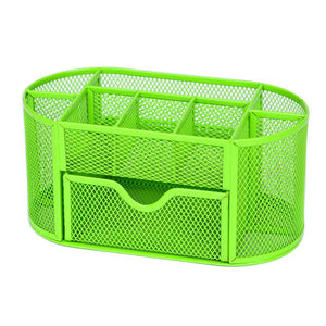 Stationery Desk Organizer 9 cells Metal Mesh Desktop Office Pen Pencil Holder Study Storage