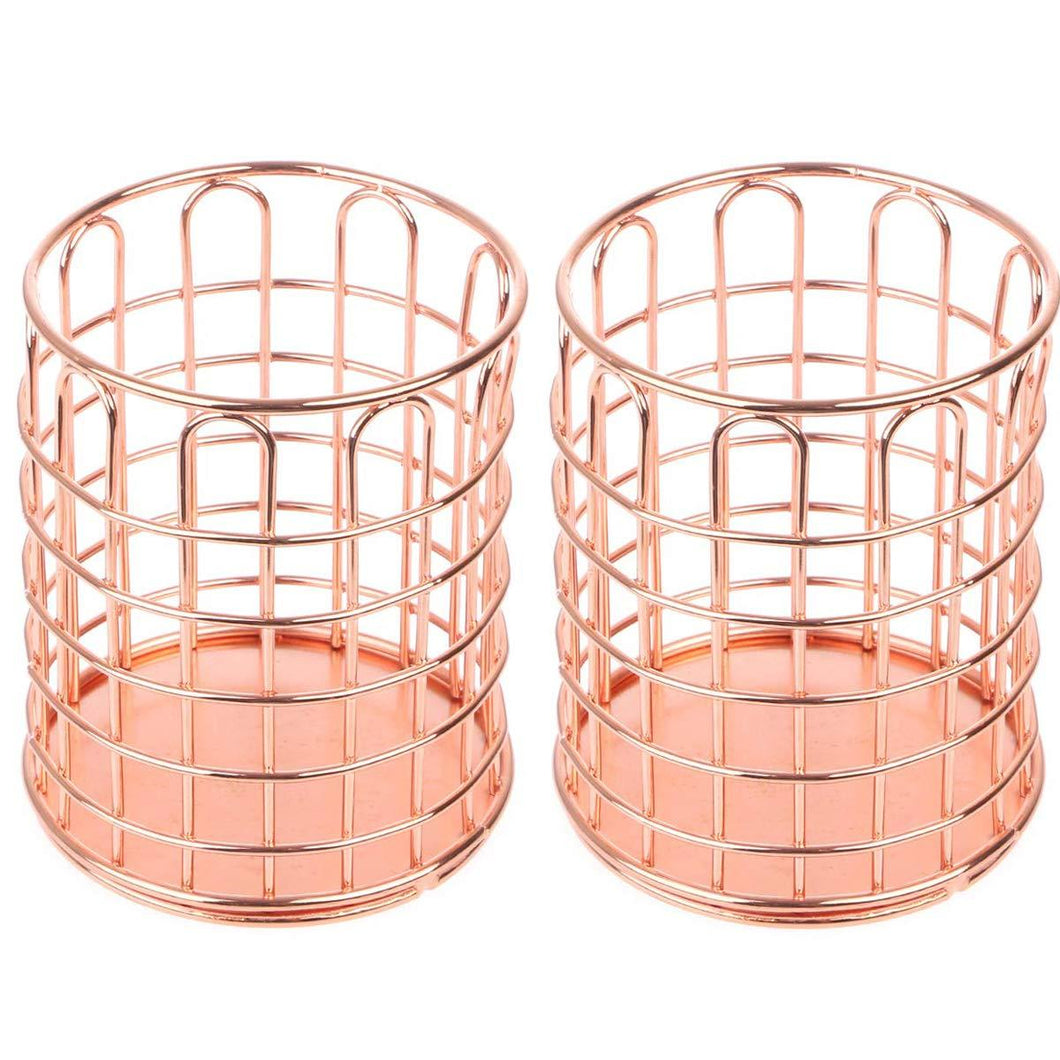 2 Pcs of Round Pen Cups, Abuff Rose Gold Wire Metal Desktop Pencil Holder Desk Organizer for Desk Office and School