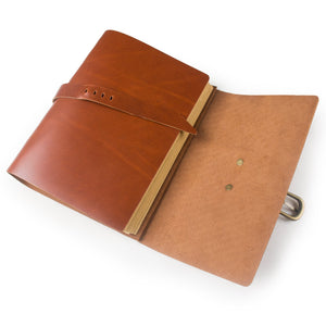 Best seller  ancicraft classic genuine leather journal with strap buckle handmade a5 lined craft paper red brown with gift box red brown a55 8x8 3inch lined craft paper
