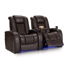 Load image into Gallery viewer, Organize with seatcraft diamante home theater seating leather power recline with adjustable powered headrest soundshaker usb charging cup holders ambient lighting row of 2 brown