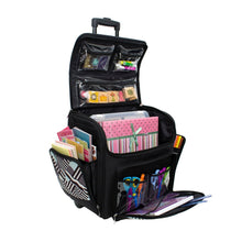 Load image into Gallery viewer, Featured everything mary wit deluxe teal geometric rolling organizer papercrafting storage tote for paper binder tools scissors stamps telescoping handle with dual wheels craft case