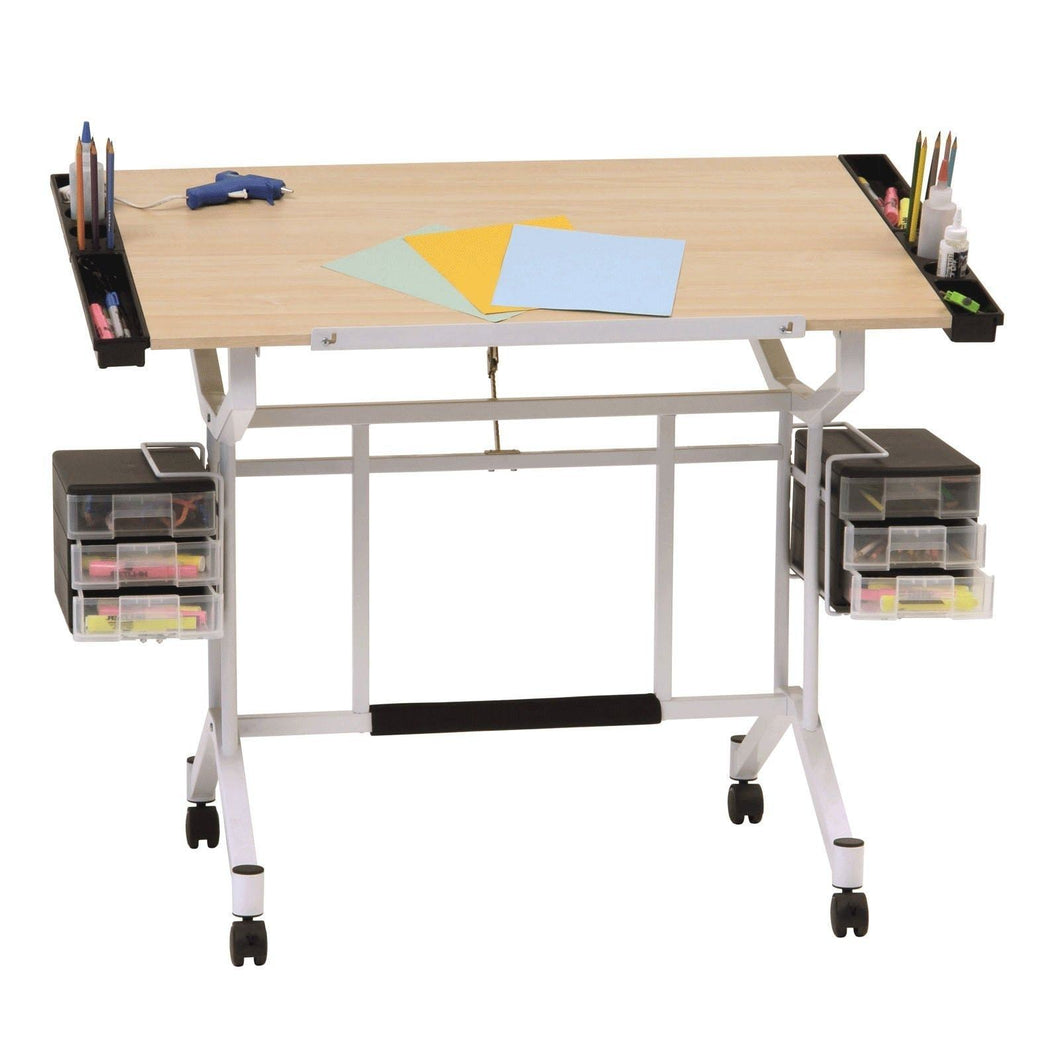 Explore studio designs pro craft station in white with maple 13245