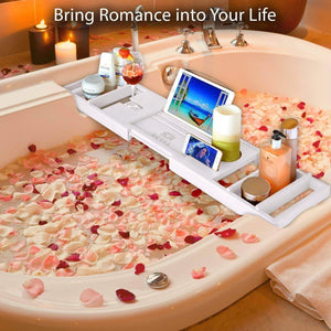 Top royal craft wood bamboo bathtub caddy tray with wine and book holder one or two person bath tray with extending sides free soap dish white