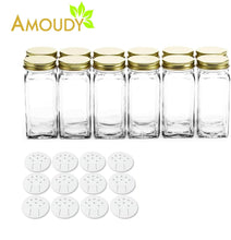 Load image into Gallery viewer, Home 12 square clear glass bottles containers jars 4oz with gold metal lids and shaker tops empty organizer set deluxe decorative modern spices seasoning food crafts gifts