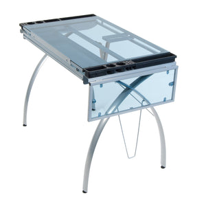 Results sd studio designs futura craft station w folding shelf top adjustable drafting table craft table drawing desk hobby table writing desk studio desk w drawers 35 5w x 23 75d silver blue glass