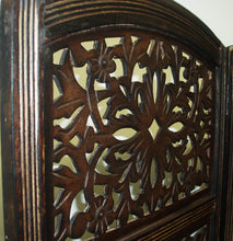 Load image into Gallery viewer, Shop rajasthan antique brown 4 panel handcrafted wood room divider screen 72x80 intricately carved on both sides reversible hides clutter adds decor divides the room antique brown rajasthan