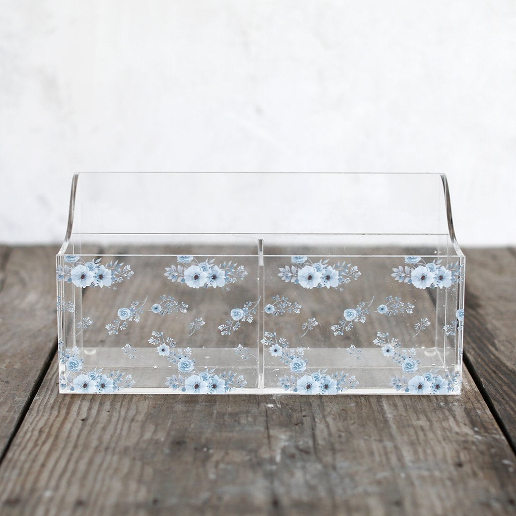 Shabby Chic Storage - Crystal Collection - Floral Organizer Blue Flower