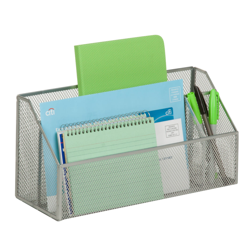 3-Compartment Desk Organizer, Silver