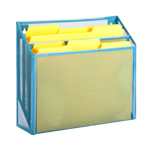 Mesh Vertical File Sorter, Blue