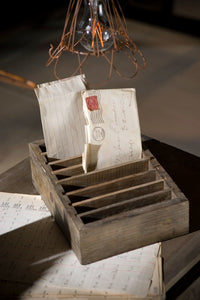 Recycled Wood Adjustable Slotted Postcard Holder - 10-in