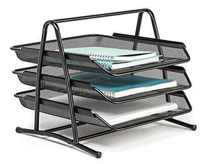 "Absales Office Desktop 3 Tier Letter Tray Organizer - Desk File Paper Document Inbox Outbox -""Only 3 Minutes"" Set Up - Black"