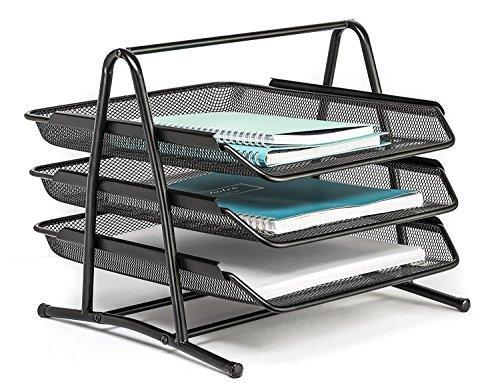 Absales Office Desktop 3 Tier Letter Tray Organizer - Desk File Paper Document Inbox Outbox -