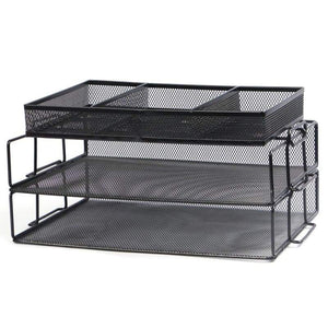 3-Tier Mesh Office Desk Organizer With 3 Sorter Sections, Black - Moustache®