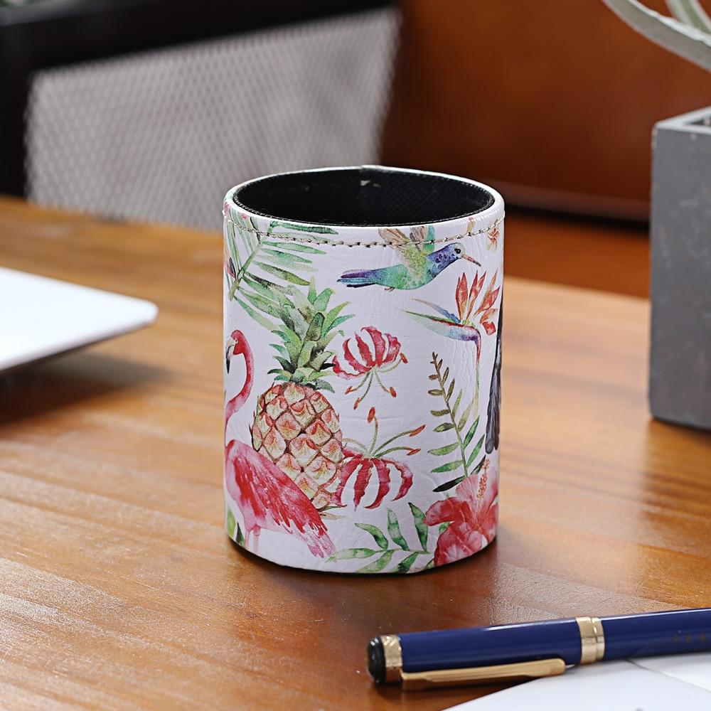 LINKWELL Summer Decor Pink Flamingo Hummingbird Pineapple Toucan PU Print Pencil Cup Pen Holder Desk Organizer Storage Box Case