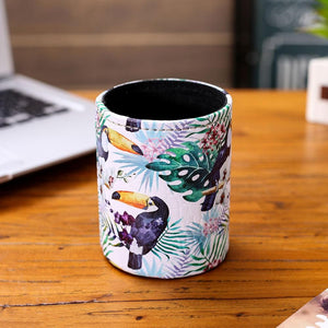 LINKWELL Modern Design Toucan Tropical Leaf Plant Pattern PU leather Pencil Cup Pen Holder Desk Organizer Storage Box Case