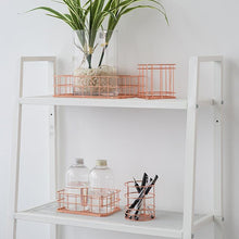 Load image into Gallery viewer, Rose Gold Metal Wire Desk Organizers - Dress My Desk