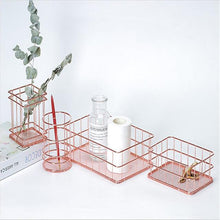 Load image into Gallery viewer, Rose Gold Metal Wire Desk Organizers