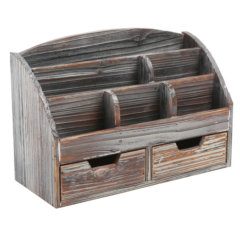 Distressed Desk Organizer in Dark Wood Finish
