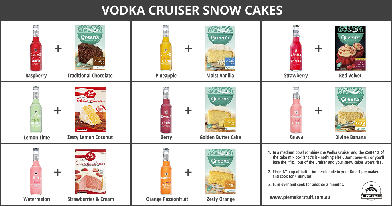 Vodka Cruiser Pie Maker Snow Cakes