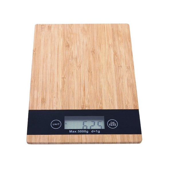 5kg Digital Kitchen Scales - Bamboo