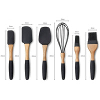 6 Piece Kitchen Utensil Set - Beech/Silicone