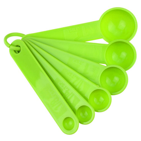 Plastic Measuring Spoon Set - Green 6 Piece