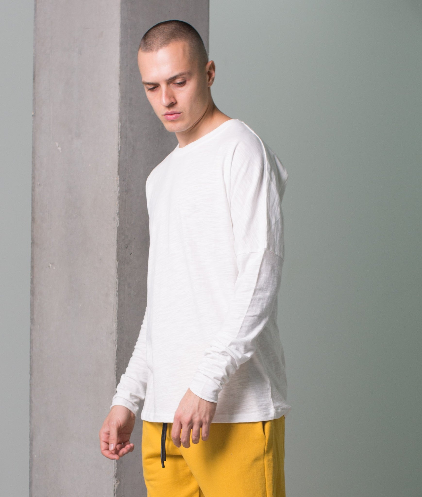 MINERAL DROPPED LONG  SLEEVE TEE  IVORY