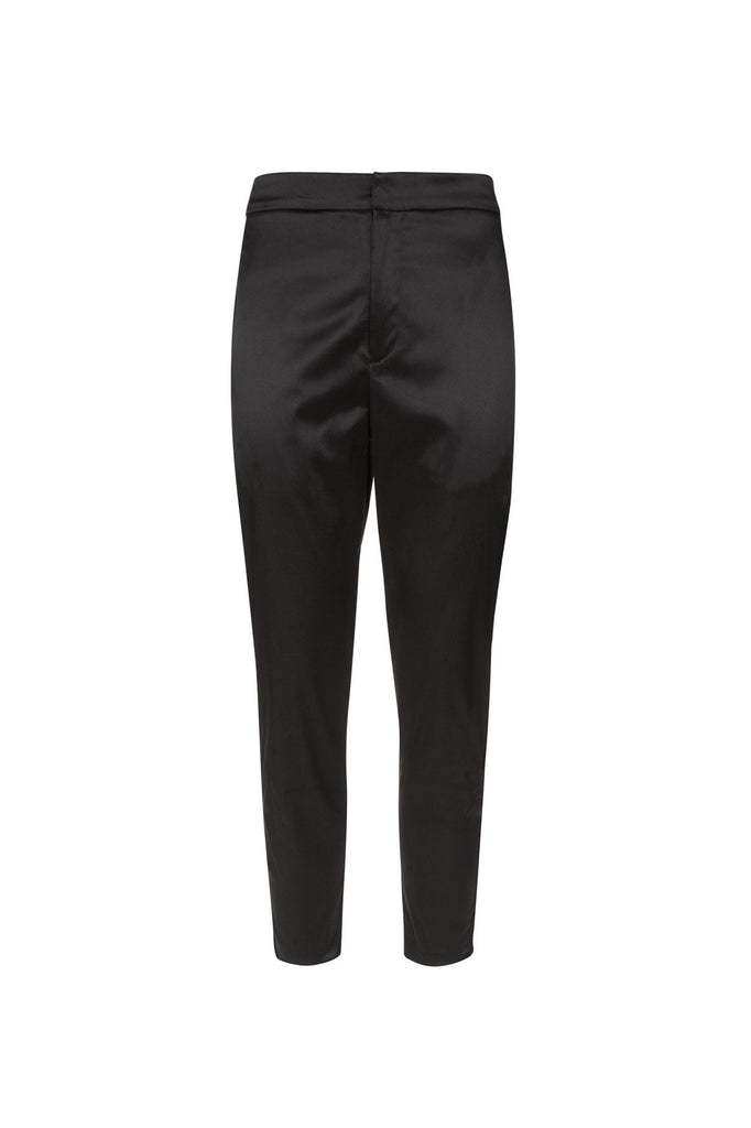 RESORT SATIN CROPPED TROUSER BLACK