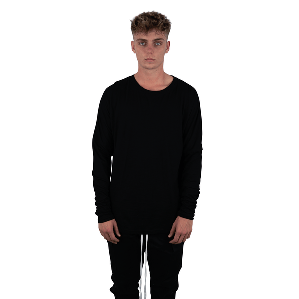 MINERAL DROPPED  LONG SLEEVE TEE  BLACK