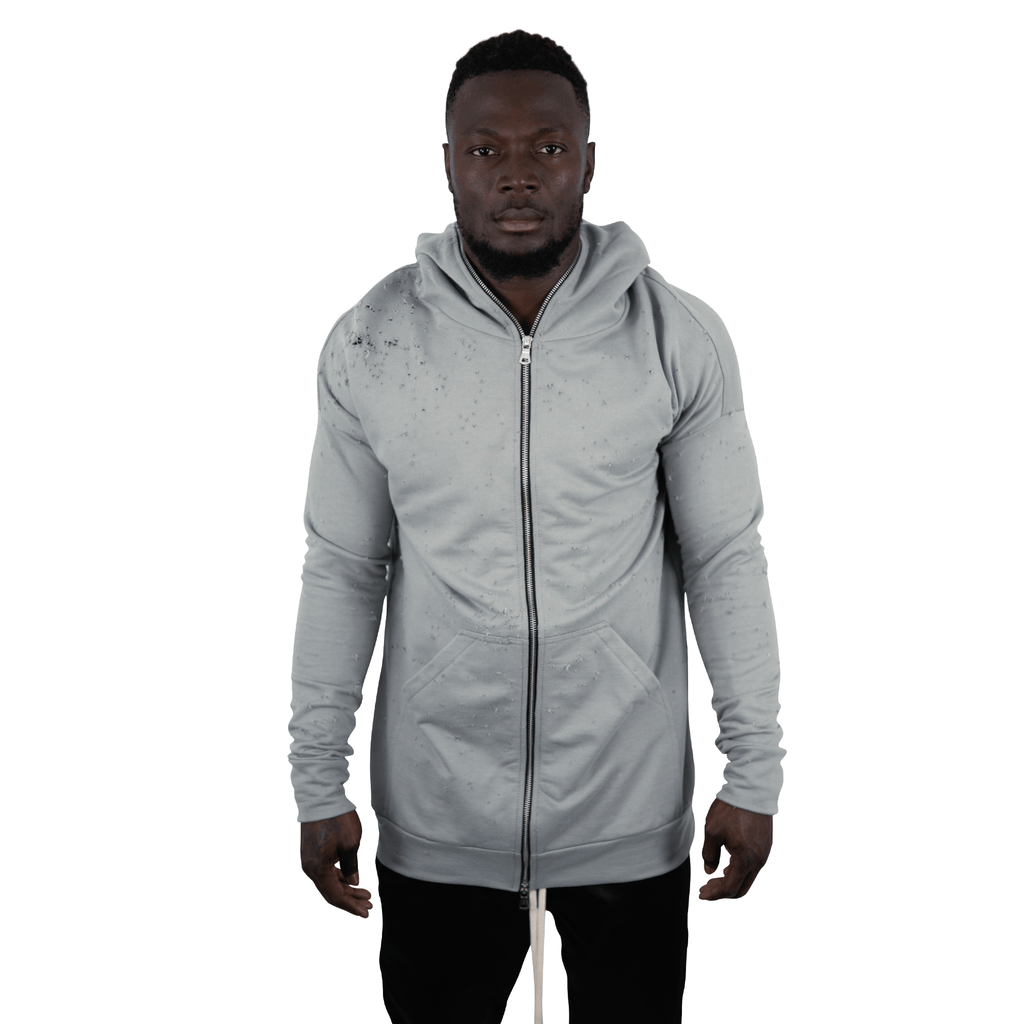 DISTRESSED HOODY OLIVE GREY